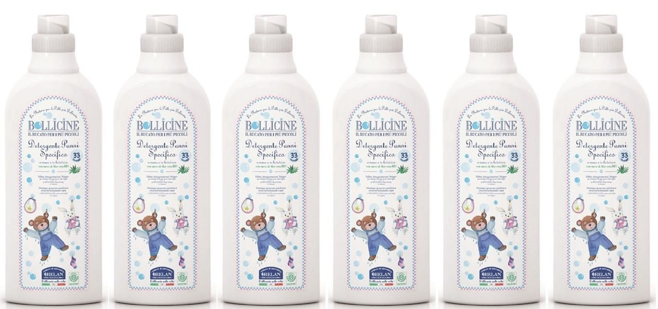 6 x 1 Litre Bollicine Baby Laundry Liquid for Sensitive Skin, Eco Organic Certified, Dermatology Tested, Vegan Friendly, 1Litre 33 Loads Helan 5060425241391