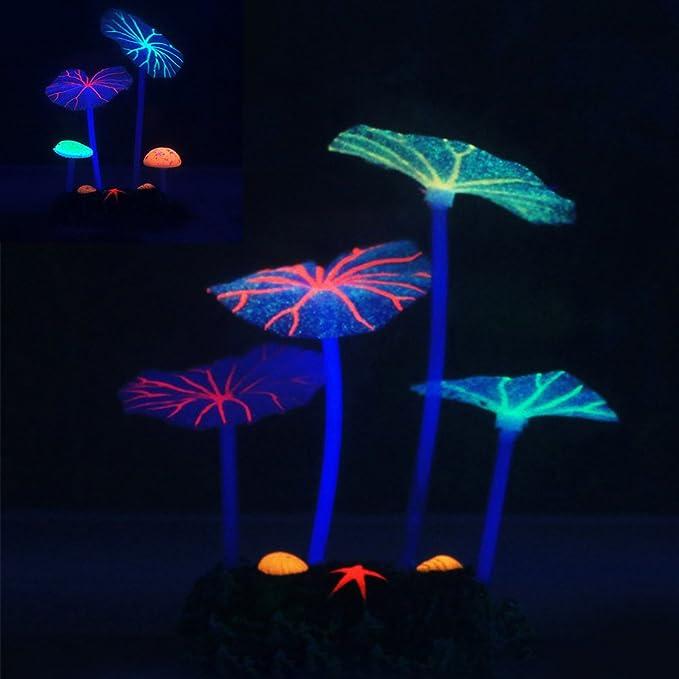 HIFUAR 1 Pc Strip Coral Plant Ornament Glowing Effect Silicone Artificial Decoration for Fish Tank,Submarine Grass Aquarium Landscape with LED Light