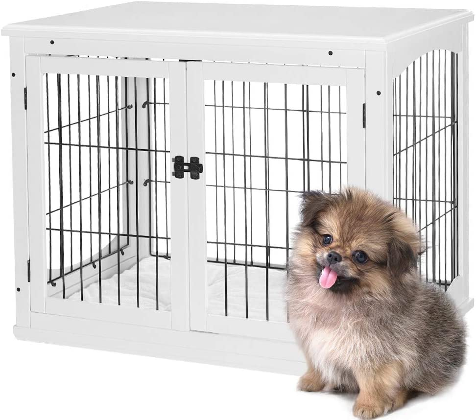 AVAWING Decorative Dog Kennel with Pet Bed,Wooden Wire Dog House with Double Doors, Large Indoor Pet Crate Side Table