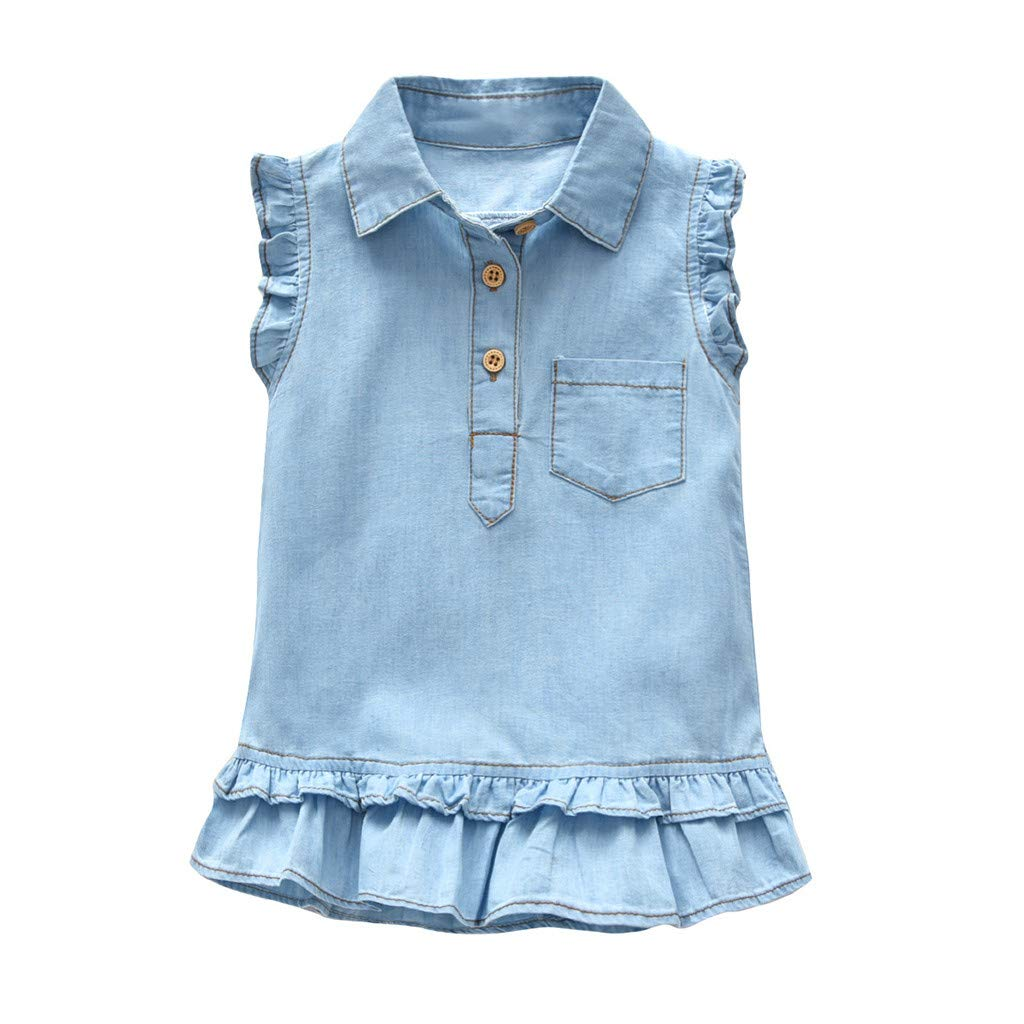 Infant Girls Dresses,Baby Infant Girls Kids Denim Sleeveless Shirt Ruffle Dress Sundress Clothes,Girls' Dresses,Black,18-24M