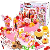 75Pcs Birthday Cake Pretend Play Food Toy Set, YIFAN Plastic Kitchen Cutting Toy for Kids Girls - Pink