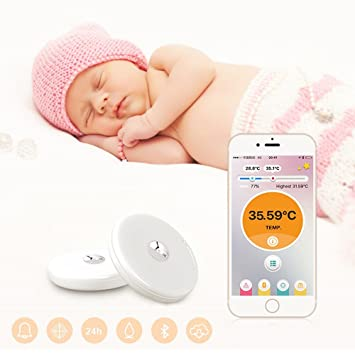 White, A Baby Thermometer Monitor Intelligent Wearable Safe Thermometer Bluetooth Smart Thermometer