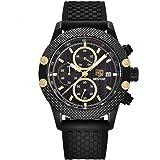 Bernsuisse BENYAR Japanese Quartz Chronograph Waterproof Silicon Strap Wristwatch for Men 5109 - Black Gold