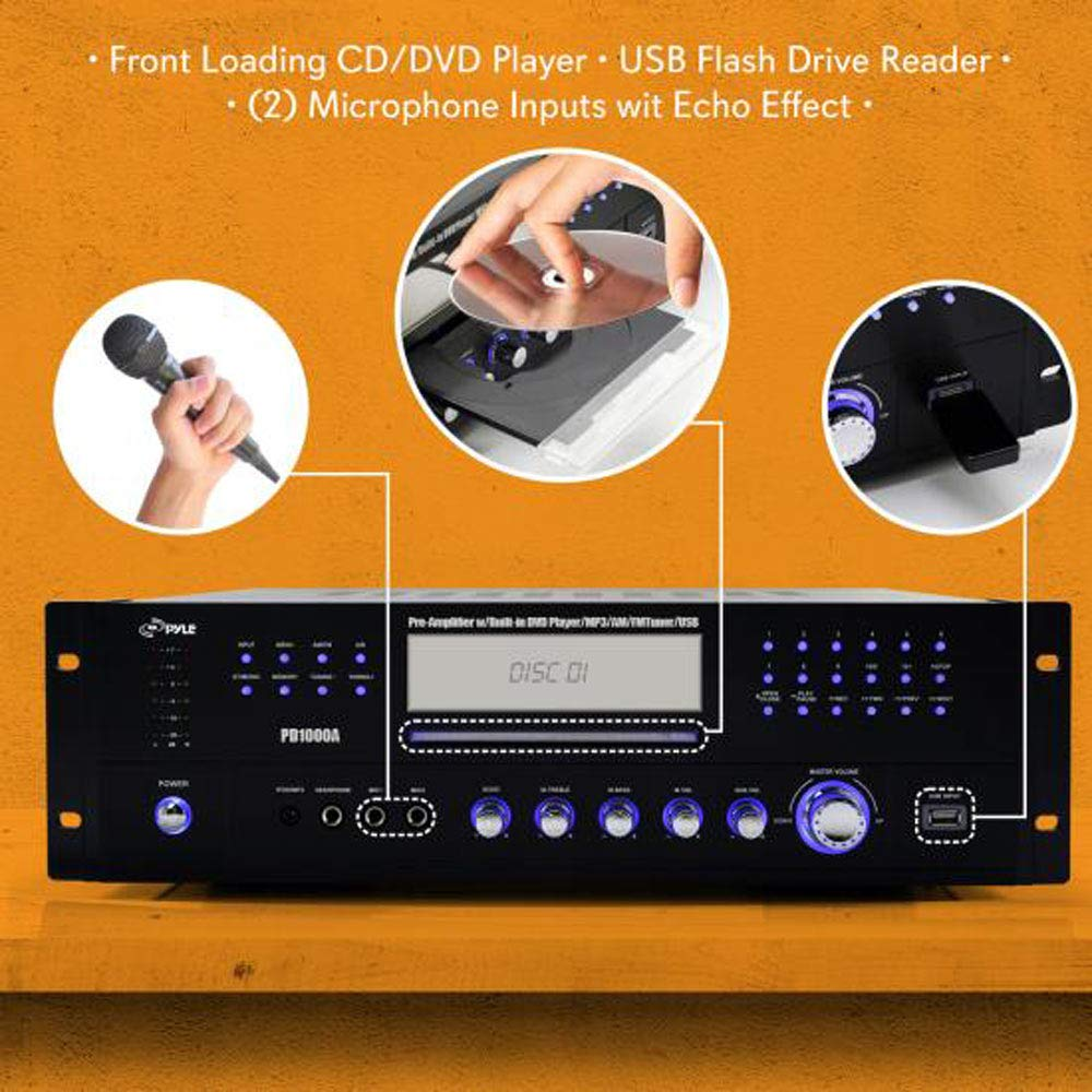 Pyle Home Theater Preamplifier Receiver Audio Video Wiring House For Sound System Cd Dvd Player Am Fm Radio Mp3 Usb Reader 1000 Watt