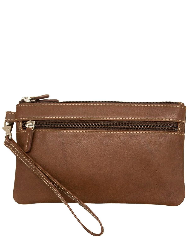 Ili Double Compartment Leather Wristlet