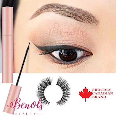 97043702959 Benols Beauty Magnetic Eyeliner with 3D Magnetic Eyelashes & Tweezers,  Black Waterproof Magnetic Liquid Eyeliner for Use with Magnetic False Lashes:  ...