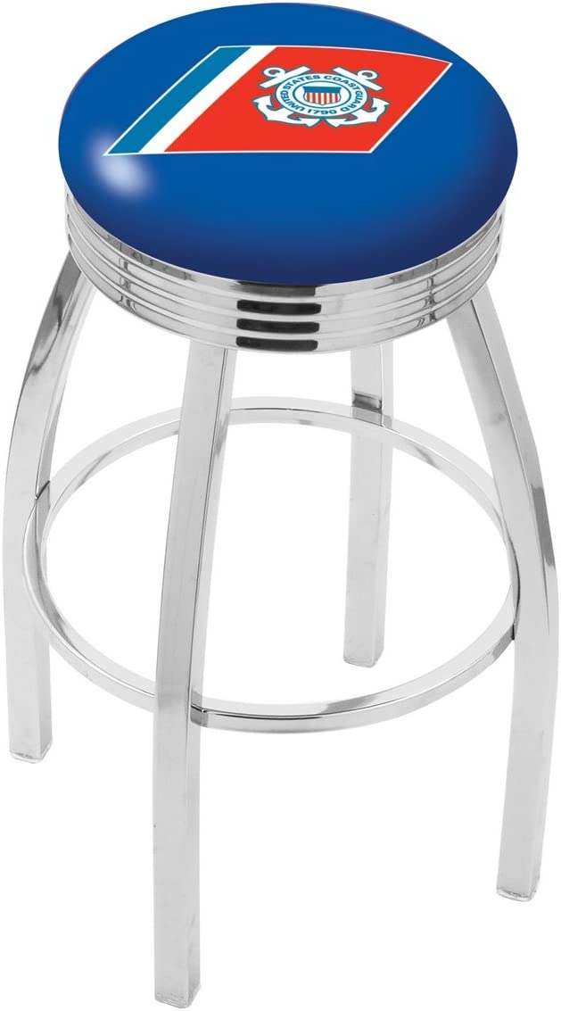 25 L8C3C – Chrome U.S. Coast Guard Swivel Bar Stool with 2.5 Ribbed Accent Ring by The Holland Bar Stool Company