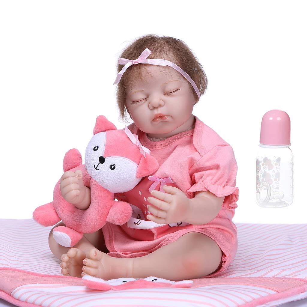 Lazder 50CM Schöne Künstliche Reborn Babypuppen WeißhReborn Simulation Emuliert Puppe Spielzeug Baby Geschenke für Neugeborene Geburtstag Geschenke Spielzeug