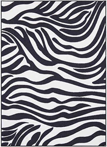 Ottomanson Glamour Collection Animal Print Zebra Design Kids Area Rug (Non-Slip) Kitchen and Bathroom Mat Rug, 3'3