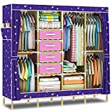 Product review for HHAiNi Portable Wooden Wardrobe Closet, Super Large Clothes Storage Organizer, Free Standing Cabinet Rack, Sturdy Fully-enclosed Armoire + Free 4 Storage Boxes