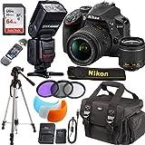 Nikon D3400 24.2 MP DSLR Camera + AF-P DX 18-55mm VR NIKKOR Lens Kit + Accessory Bundle 64GB Memory + SLR Photo Bag + TTL SpeedLite Flash w/LCD Display + Tripod + Filters (Black)