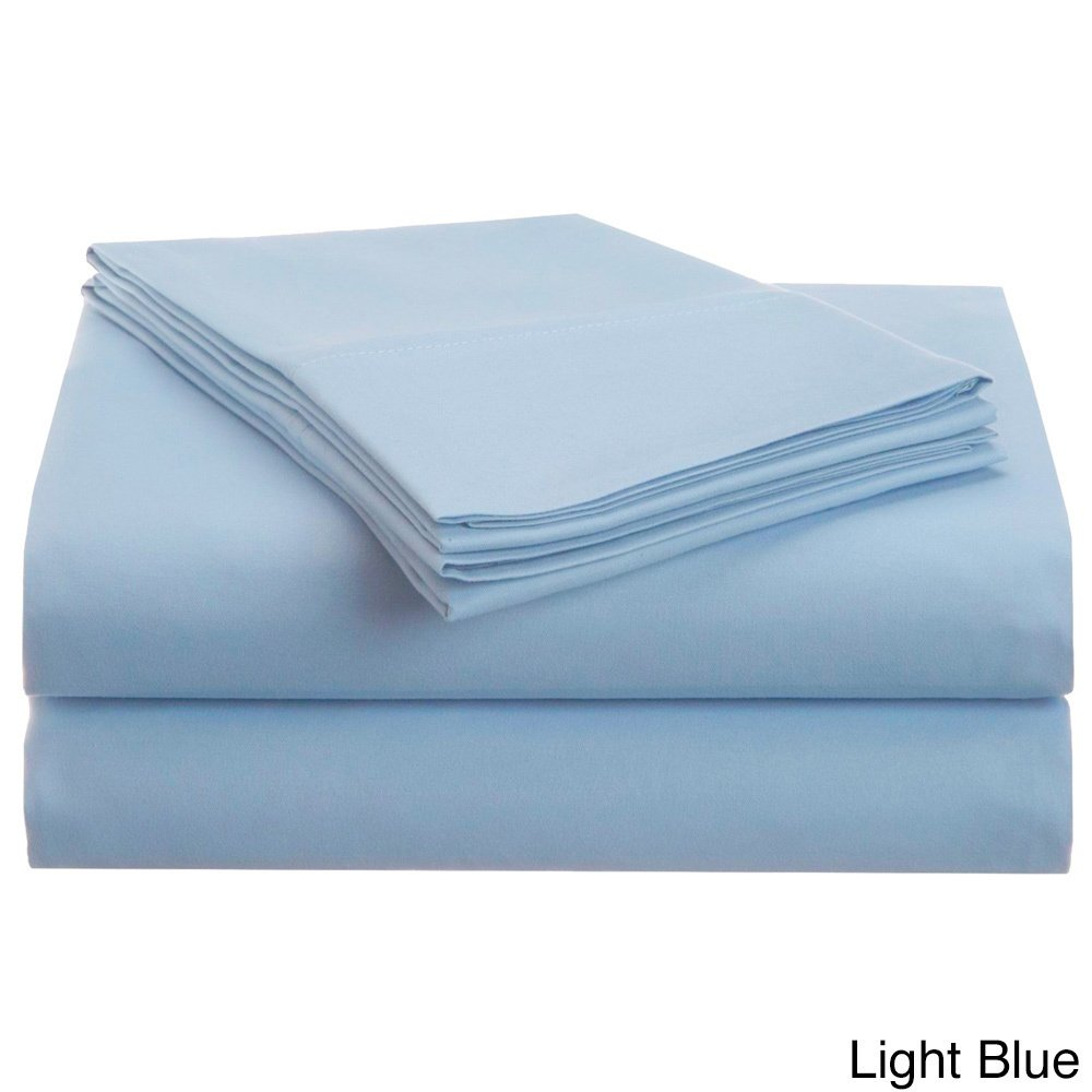 4 Piece King Light Blue Sheet Set, Casual & Traditional Style, Solid Color, Fully Elasticized Fitted Sheet, Solid Color, Microfiber, Sateen weave, Single-ply design, Machine Wash, Blue