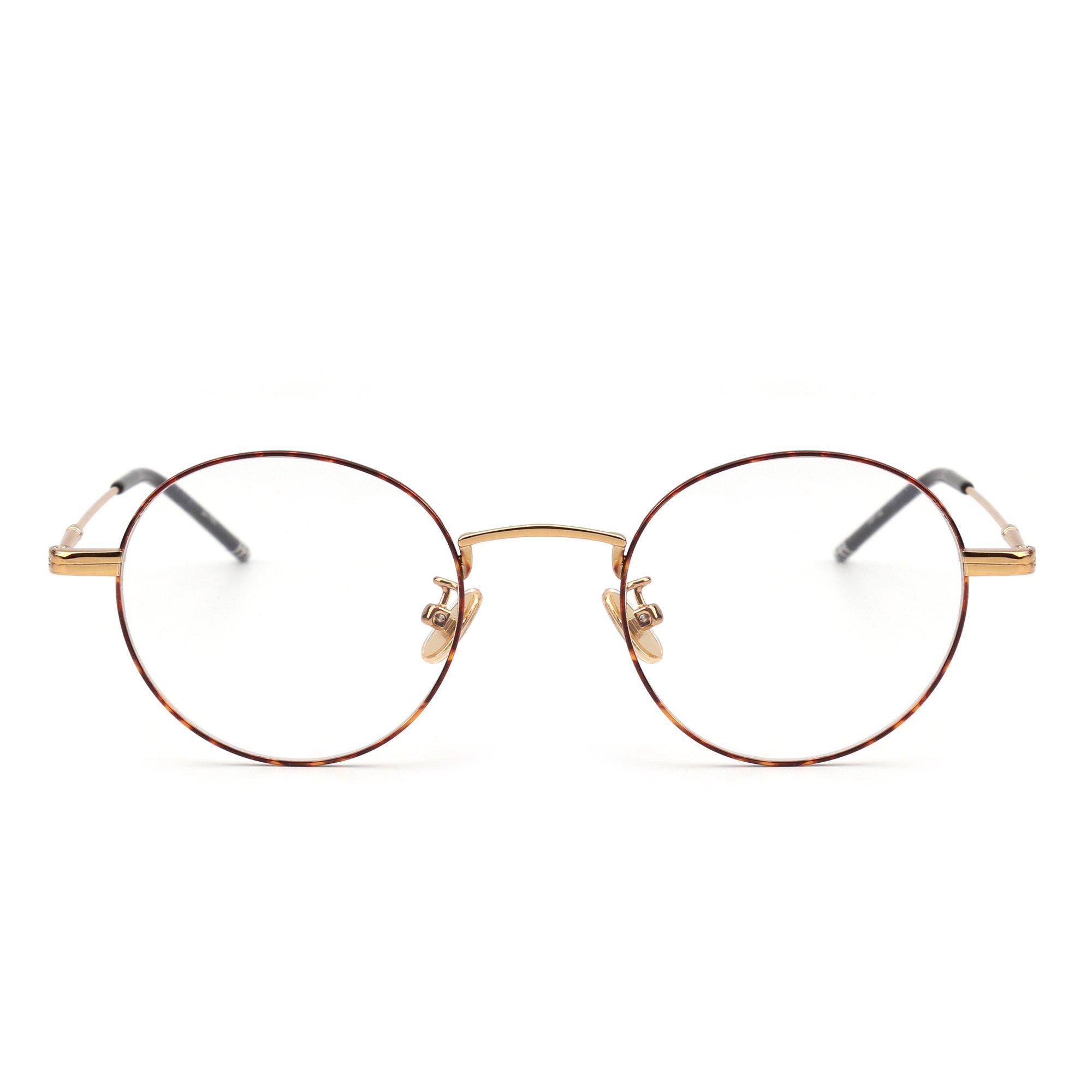 Round Wire Rim Glasses Circle Frame Clear Lens Eyeglasses Optical Eyewear Women Men (Gold / Clear)