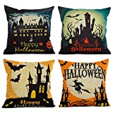 : HOSL PW01 4-Pack Happy Halloween Square Decorative Throw Pillow Case Cushion Cover Bat Pumpkin
