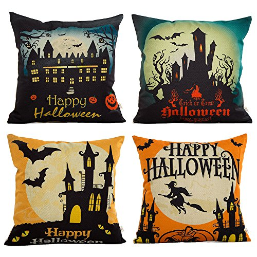 HOSL PW01 4-Pack Happy Halloween Square Decorative Throw Pillow Case Cushion Cover Bat Pumpkin 2018