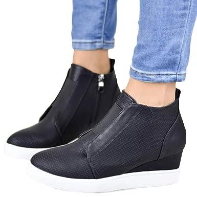 c49f2ba2f0e84 Amazon.com: Bigyonger Womens Wedge Sneakers Platform Loafers Slip On ...