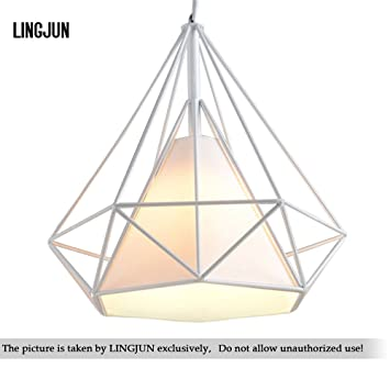 Vintage Ceiling Light 25cm Modern Diamond Shape Pendant Geometric Cage Chandelier White