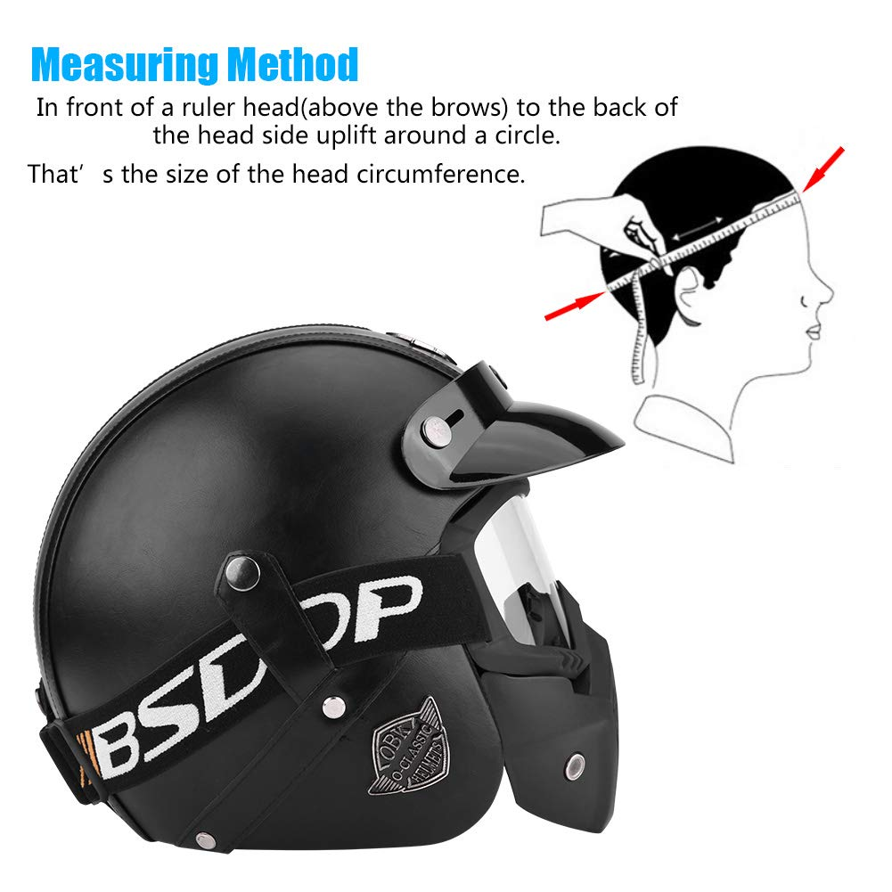 M 59-60 cm Zerone Casco medio para motocicleta L 61-62 cm circunferencia de la cabeza 57-58 cm XL casco abierto con gafas desmontables y m/áscara para las cuatro estaciones opcional