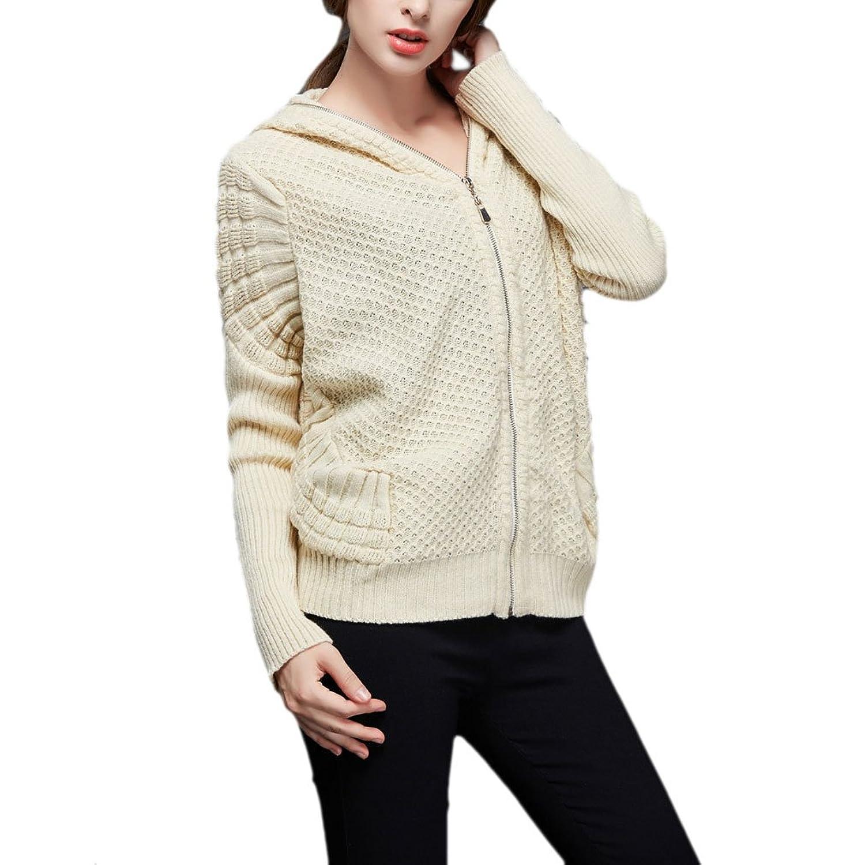 Najia Symbol Women's Batwing Hooded Zip Knit Sweater Showomen356