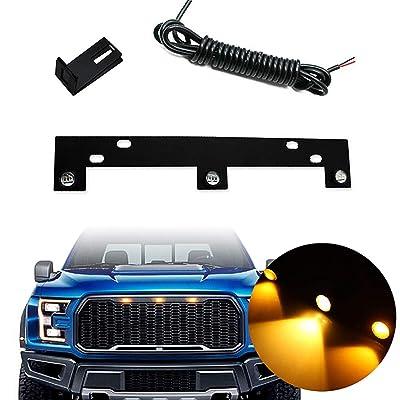 KE-KE Amber LED Grille Lights Kit w/Mounting Bracket Raptor Style For 2009-up Ford F150: Automotive