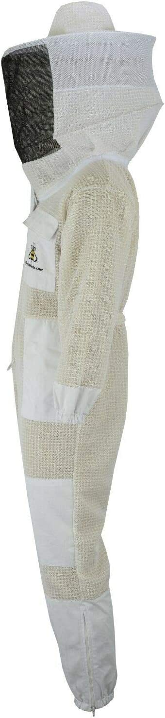 Bee Suit 3 Layers ultra ventilated safety protective unisex white fabric mesh beekeeping suit Beekeepers outfit fency Veil