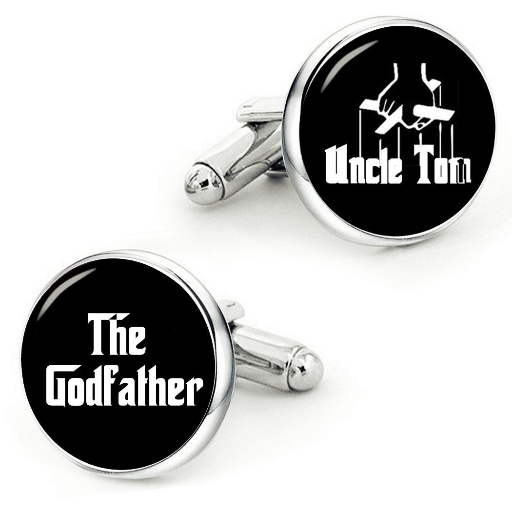Kooer Godfather Cufflinks Handmade Custom Anniversary Personalized Cuff Links Baptism Gift (style 1) (style 1)