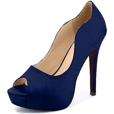 Littleboutique Women Peep Toe Satin Wedding Platforms Stiletto Evening Shoes Dress Pumps Bridal Shoes Heels   Pumps