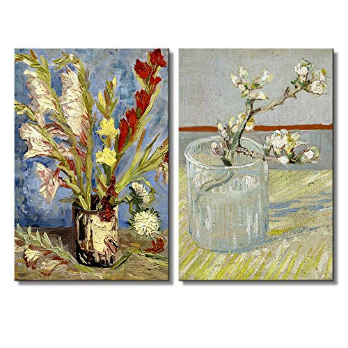 Sprig of Flowering Almond in a Glass Vase with Gladioli and China Asters by Vincent Van Gogh Oil Painting Reproduction in Set of 2 x 2 Panels