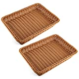 PeleusTech Bread Basket, 2PCS large Rectangle Imitation Rattan Woven Storage Basket For Fruit Food Vegetables Large Poly Wicker Bread Basket - (Dark Brown)