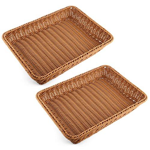 Bread Basket, Yamix 2Pcs Rectangle Imitation Rattan Bread Basket,Food Serving Baskets,Restaurant Serving/Diplay Baskets For Fruit Food Vegetables - Dark Brown by Yamix
