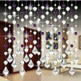 Bubble Beads Design 5 Strand of Beads, DIY Luxury Crystal Glass Bead Curtain Home Decor Decorations for Living Room Bedroom Windows Doorway Ornament Wedding Party Supply (F)
