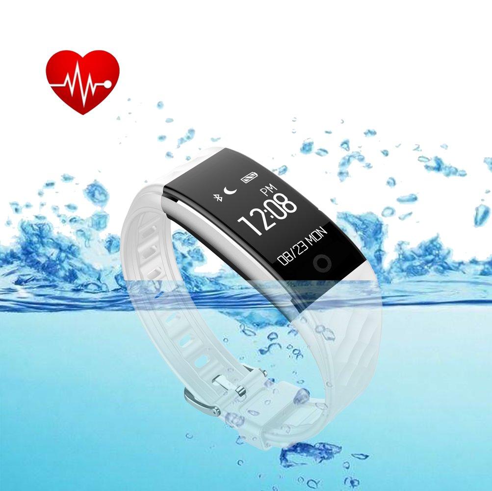 Fitness tracker防水とハートレートモニター、Fitness Watch withウェアラブル活動トラッカー歩数計、キッズ、レディース、メンズ、スマートリストバンドfor iPhone 7 Plus、Galaxy s8および他のスマートフォン B0731JWH7V ホワイト ホワイト