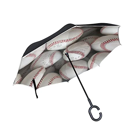 9e242bab7335 Amazon.com : Jojogood Baseball Pattern Inverted Umbrella Reverse ...