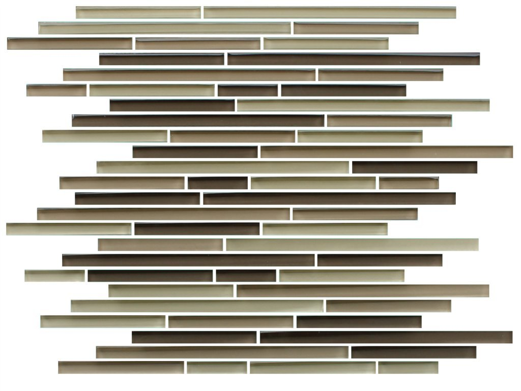 10 Sq Ft of Baja Brown, Beige, and Tan 10mm Linear Glass Mosaic Tiles