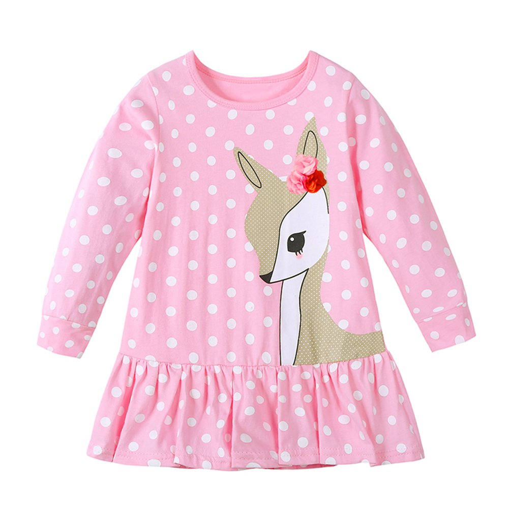 Diamondo Toddler Baby Girls Kids Autumn Clothes Long Sleeve Party Deer Tops T-Shirt Pink, 5T