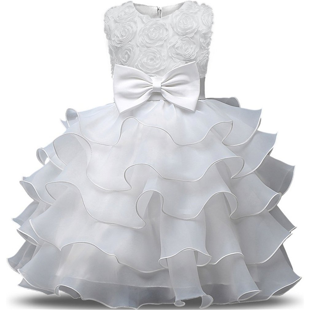 Niyage Girls Party Dress Princess Flowers Ruffles Lace Wedding Dresses Toddler Baby Pageant Tulle Tutus 18-24 M White