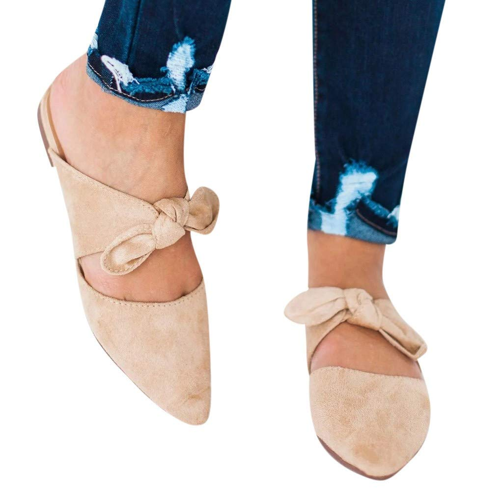 f52d22e71 Amazon.com  Sandals Shoes for Women Summer Casual 2019 Slip-on Pointed Bow  Butterfly-Knot Slippers Shoes Beach Slippers Wedges Shoes  Clothing
