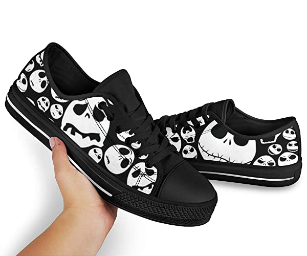 Womens Young Fans Team Sneakers Collectible Outdoor Shoes 02 Jack Skellington Skull Canvas Low-Top Holiday Shoes snow Days Birthday Gift Merch Streetwear Style Cool Shoes Nightmare Before Christmas Sneaker