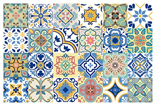 GSS Designs 24 PC Pack Traditional Mexican Talavera Tile Stickers for Bathroom & Kitchen Backsplash Decoration 4x4 Inch (10x10cm) Waterproof Removable Wall Sticker Decals(TS24-005)