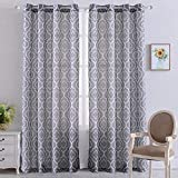 NANAN Moroccan Linen Curtains, Textured Flax Lattice Print Curtains for Living Room Bedroom Window Sun-Shade, Grommet Treatment Drapes for Dressing-Room - 52' W x 84' L - (Grey, Set of 2 Panels)