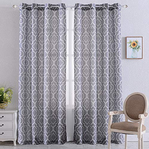 NANAN Moroccan Poly Linen Curtains,Lattice Flax Linen Textured Grommet Curtains Geometric Window Treatment Drapes for Bedroom – 52″ W x 95″ L – (Grey, Set of 2 Panels) Review