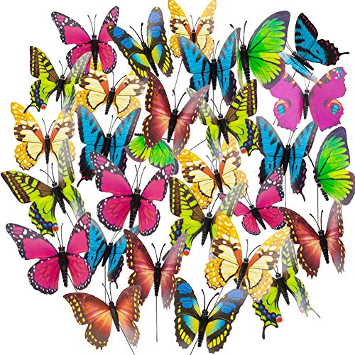 Butterfly Stakes, 50pcs 11.5inch Garden Butterfly Ornaments, Waterproof Butterfly Decorations for Indoor/Outdoor Yard, Patio Plant Pot, Flower Bed, Christmas Decoration (Metal Ornaments Butterfly Garden)