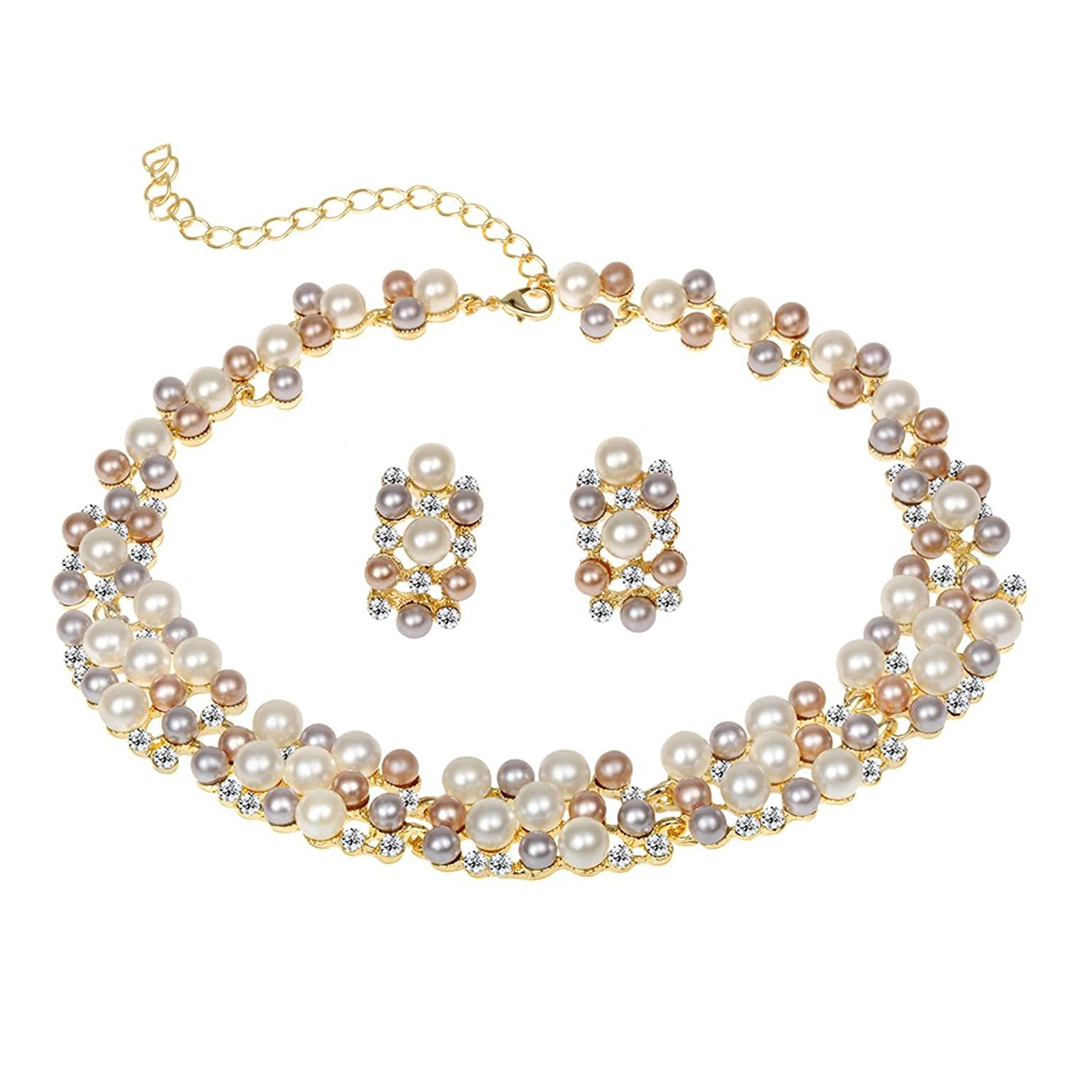 Amazon EVBEA Pearl Wedding Jewelry Set Affordable Gold Plated Faux Layered Statement Necklace And Earrings SetS17 Sets