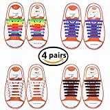 Talent Fashion Kids/Adults Tieless Elastic Silicone No Tie Shoelaces Waterproof Rubber Flat Running Shoe Laces for Sneakers Board Shoes Casual Shoes and Boots (a 4 kid black+white+rainbow+blue)