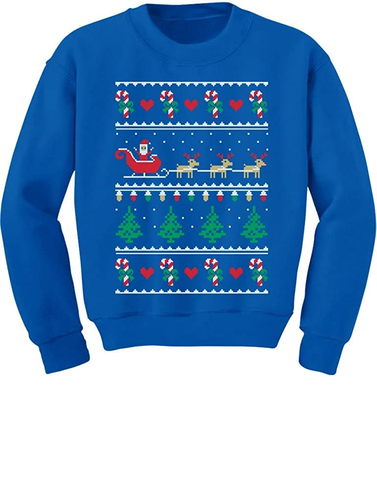 TeeStars Flying Santa Ugly Christmas Sweater Cute Xmas Toddler/Kids Sweatshirts 3T Blue GhPh3hPgf5P0f590o
