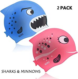 KEKU Children's Swimming Cap 2 Pack Shark and Small Fish Silicone Baby Swimming Cap are Suitable for Boys and Girls Ages 3 to 12.