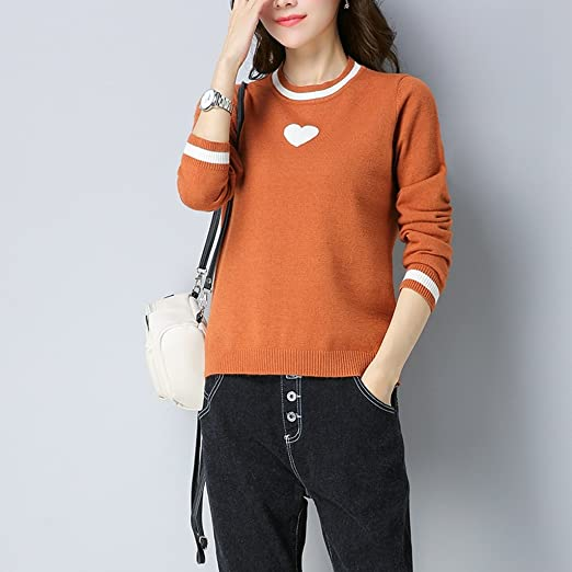 ALUK- Autumn and winter - long-sleeved sweater round neck loose thickening  shirt ( Color : Orange , Size : L ): Amazon.co.uk: Kitchen & Home