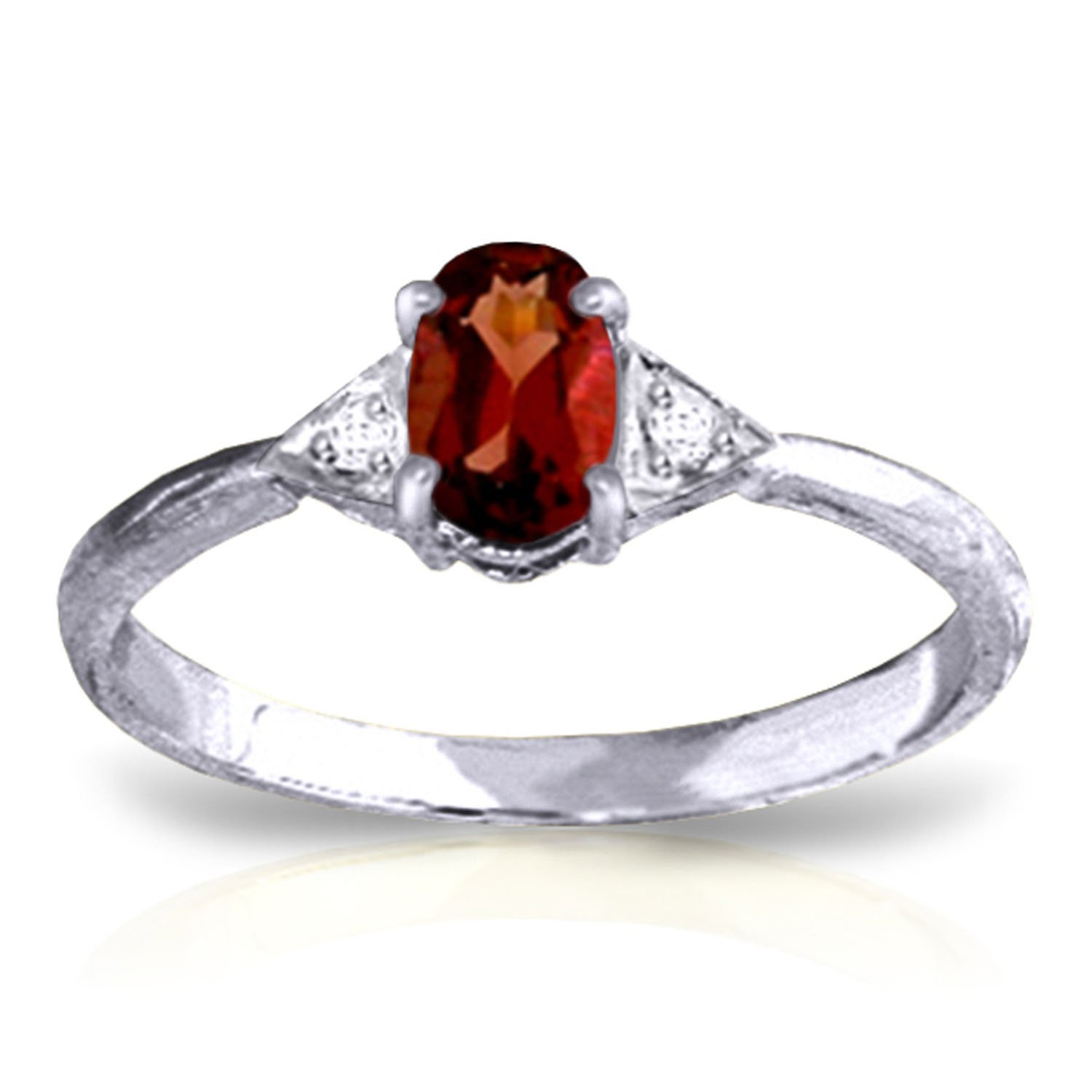 0.46 Carat 14k Solid White Gold Ring with Genuine Diamonds and Natural Oval-shaped Garnet - Size 11