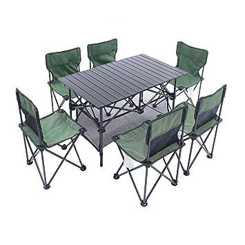 ZYWTZ Mesa y Sillas de Camping Mesa y Sillas Plegables, 4-6 Personas ...