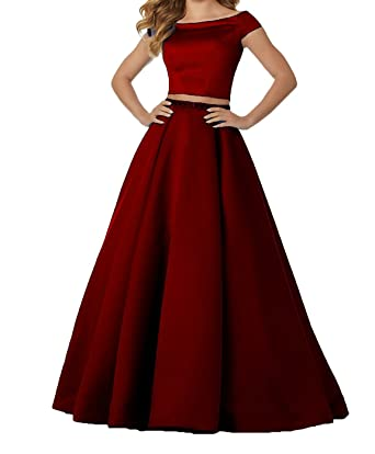 80a67b73bba Image Unavailable. Image not available for. Color  Ladsen Women s Prom Dress  2018 Long Two Piece Beaded Satin ...